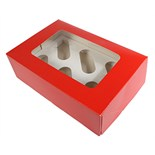 6 Cupcake/Muffin Box Red