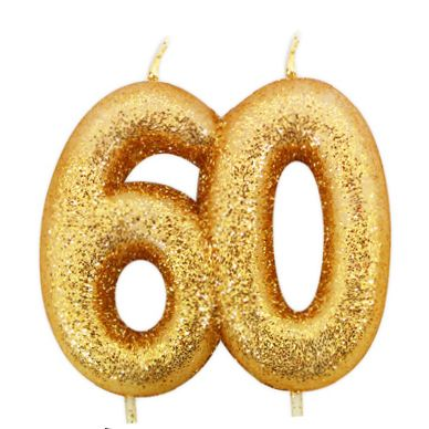 Anniversary House Number Candle Gold Glitter 60