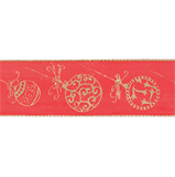 Groves Wired Edge Ribbon: Red with Gold Baubles 38mm